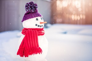 Smiling snowman with purple hat and red scarf