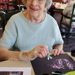 Eunice enjoyed her lilac artwork and thought it was a fun way to use Q-tips!